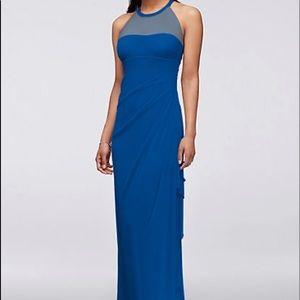Long Mesh Dress With Illusion Neckline Blue 2